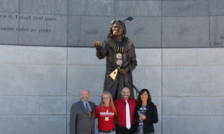 NCIA Executive Director at the Chief Standing Bear sculpture dedication in Lincoln on October 15 with: from left to right, Standing Bear sculpture donor Don Campbell, Dr. Paige Paulson, sculptor Ben Victor.