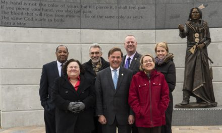 Lincoln City Council in front of Chief Standing Bear Sculpture